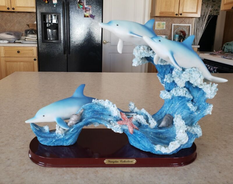 """Vtg Dolphins Figurine The Waves  Nautical Decor Yanglin Collection 13 1/2"""" L"""