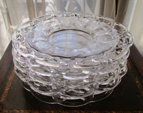 "Imperial Glass Crocheted  6 salad or dessert plates 8"" set elegant"
