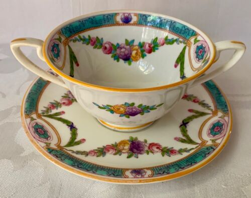 RARE c1916 ROYAL WORCESTER BOUILLON CUP & SAUCER, C1091, TURQUOISE, HAIRLINE