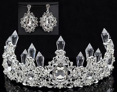 Queen Floral Clear Austrian Rhinestone Crystal Tiara Crown Set Bridal Prom - Queen Tiara