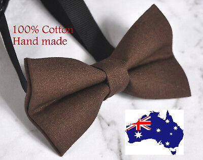 Men Women 100% Cotton MATTE BROWN Solid Craft Bow Tie Bowtie Wedding Party Party Bow Tie