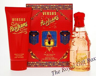 VERSUS RED JEANS WOMAN Perfume  75ml EDT  Eau De Toilette  & 100ml Shower Gel