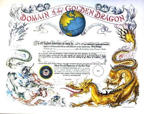 Golden Dragon Certificate w/Coast Guard seal blank unused  US Naval Institute