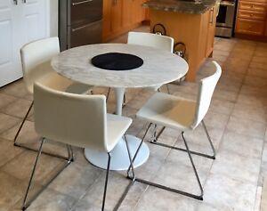 4 IKEA Bernhard White leather chairs