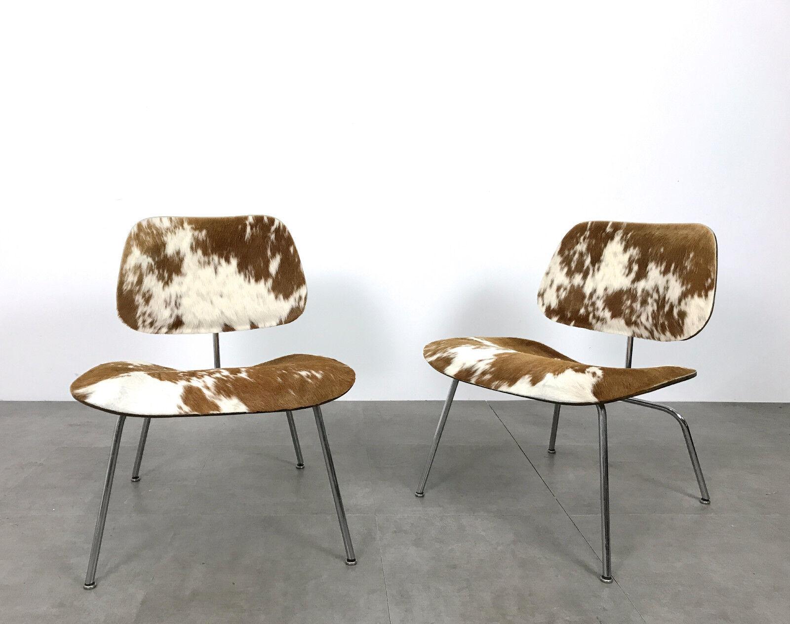 Vintage Pair Eames LCM Cowhide Lounge Chairs Herman Miller Mid Century Modern