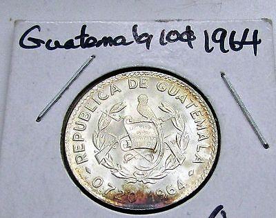 Guatemala 1964 10 Centavos  Silver Lustrous Flashy Toned Toner Quetzal Bird