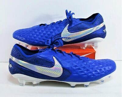 NIKE TIEMPO LEGEND 8 ELITE FG SOCCER CLEATS SIZE 12 BLUE WHITE AT5293-414