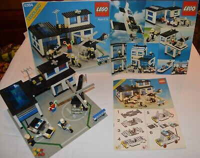 ORIGINAL VINTAGE 1983 LEGO POLICE STATION # 6384 w. INSTRU, BOX F & B-COMPLETE