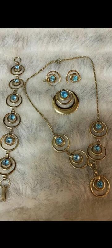 Vintage Gold Tone Blue Rhinestone Set