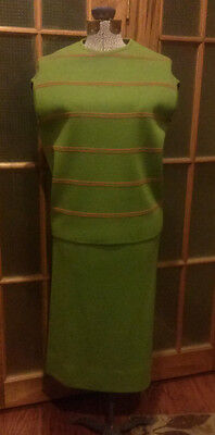 Vintage 60's Green & Orange Palio Italy 100% Wool Dress Jacket Outfit Size 12