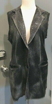 Avant Toi Grey/Black Metallic Sleeveless Studded V-Neck Vest Italy Size Large
