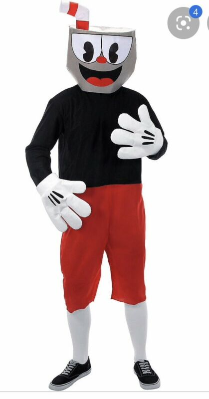 """New CUPHEAD Costume, Adult Small/Medium Up To 5'11"""" /185lbs Mask Jumpsuit Gloves"""