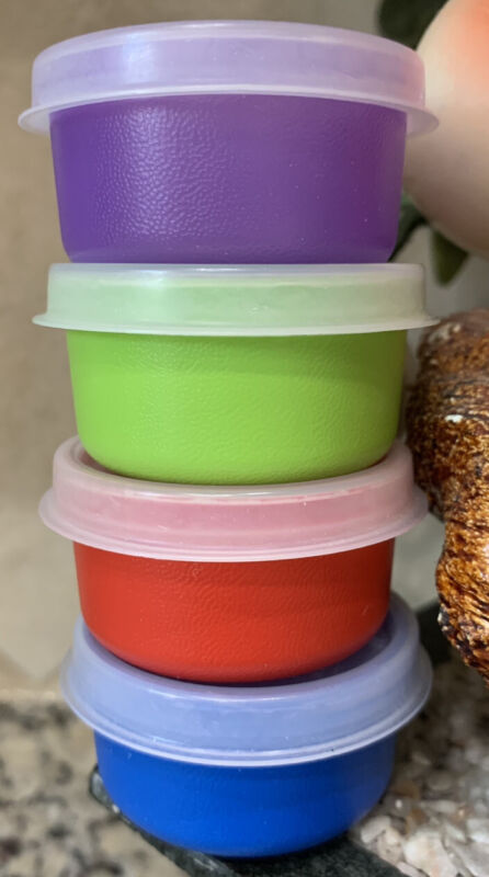 TUPPERWARE SMIDGETS 1 Oz CONTAINERS SET /4 PURPLE RED LIME GREEN BLUE AIRTIGHT