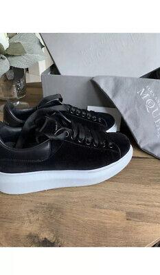 Alexander McQueen Black Velvet Trainers Size 38 UK 5 100% Genuine Perfect Condi