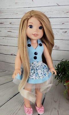 """8-9"""" Custom Doll Wig fits Dolfie, bjd, Wellie Wisher...""""Lil' Caramel Fade"""" bn1"""