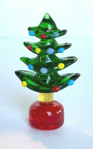 "Miniature Glass Christmas Tree Figurine Winter Christmas 1 7/8""H"