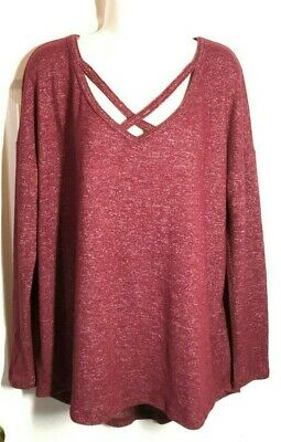 A New Day ~ Cozy Cross V-Neck Long Sleeve Top ~ M
