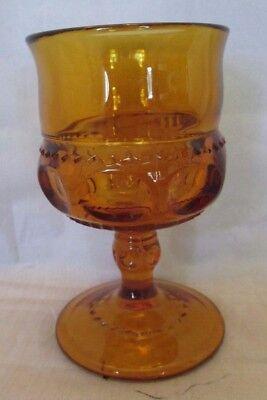 King's Crown Amber Juice Glass AKA Indiana Glass Thumbprint