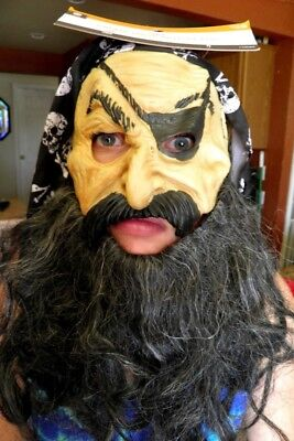 Adult Pirate Latex Mask With Black Beard Skull Crossbones Wig Eye Patch Bandanna