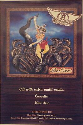 AEROSMITH NINE LIVES UK PROMO TOUR POSTER 1997