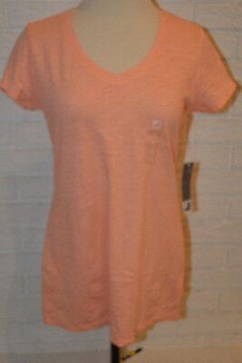 Womens Jcp Peach Sorbet Short Sleeve V Neck T Shirt Top Size Medium