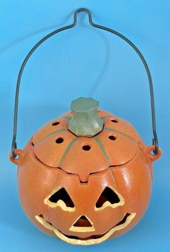 Vintage Cast Iron Jack O Lantern Pumpkin Halloween Face Spooky Votive Holder 6.5