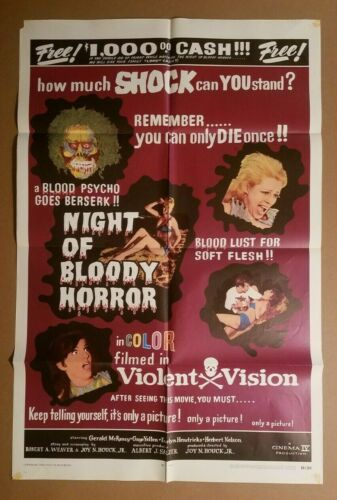 NIGHT OF BLOODY HORROR 1969 Original 27x41 movie poster Gerald McRaney 💀 69/205