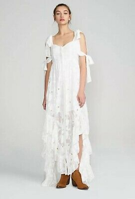 NEW $435 Free People We Are Kindred Stephanie Frill Maxi Dress Size 6 US 10 AUS