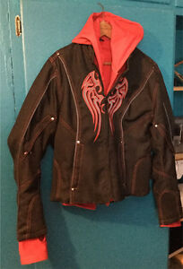textile riding jacket w/embroidered wings on front  and hoodie