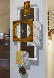 Large Pendulum Modern Metal Wall Clock Art Brown Silver Copper Artist Jon Allen