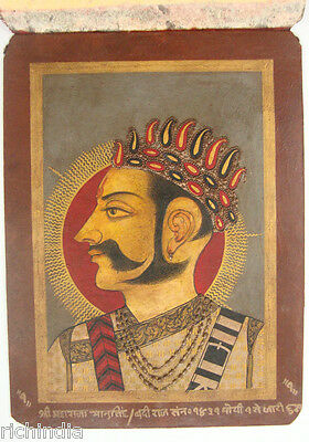 Antique Paper PAINTING EHS  Vintage Art Royal Rajput King Queen Handmade India
