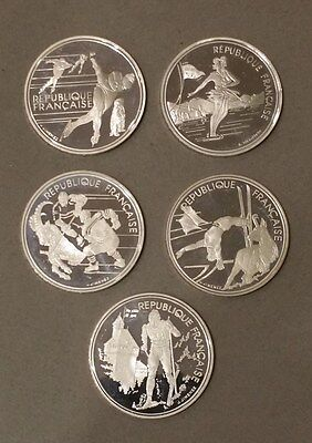 5 x 100 Francs Frankreich Olympiade Albertville 1992 Silber