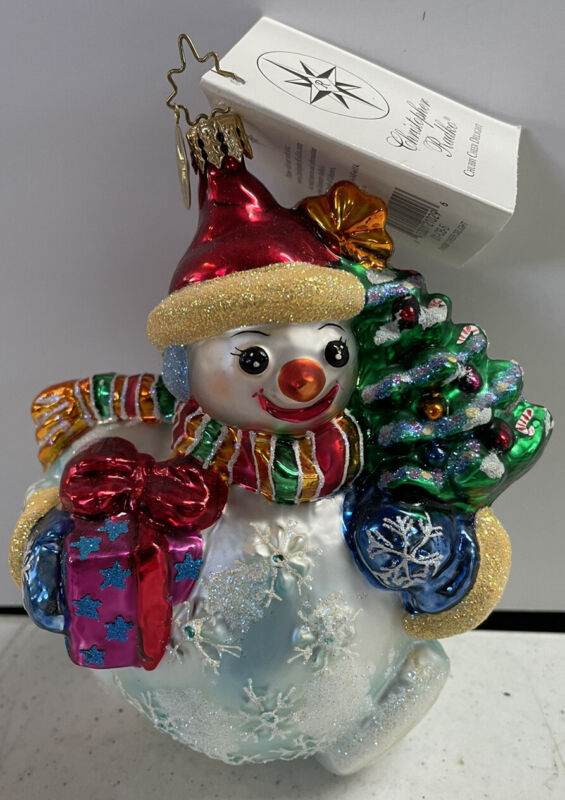 Christopher Radko CHUBBY CHEER DELIGHT Snowman Glass Christmas Ornament