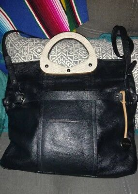 FURLA Black Leather Python Handles OXALIS Convertible Messenger Bag Satchel Tote ()