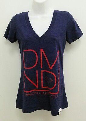 - Diamond Supply Womens T-Shirt Top Small Logo Blue V-Neck Cap Sleeve B279