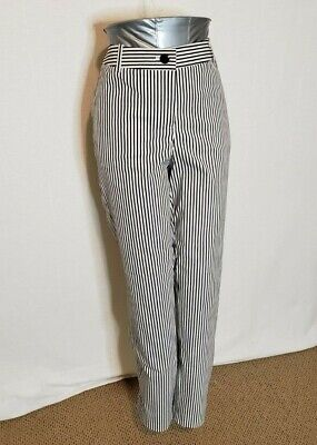 Lafayette 148 Pants Black and White Vertical Stripes Womens Size