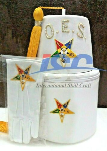 OES EASTERN STAR FEZ, WHITE CASE and GLOVES