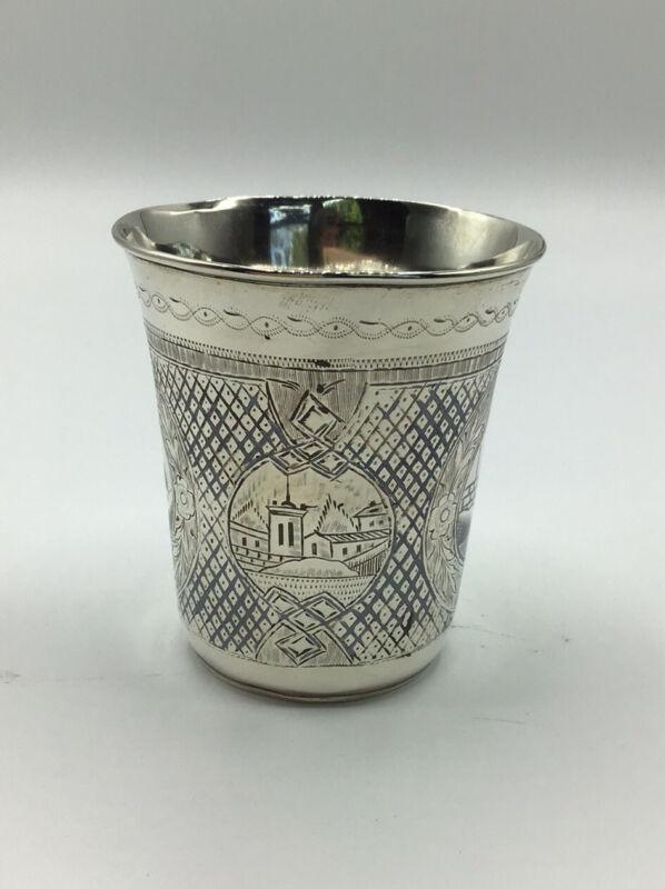 "Antique - 1867 Russian Vodka Cup - 84 Silver, Engraved, Niello - Dmitriev - 3"""