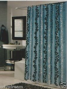 Flocked Texture Polyester Fabric Shower Curtain 034 Leaf 034 Blue Silver Amp
