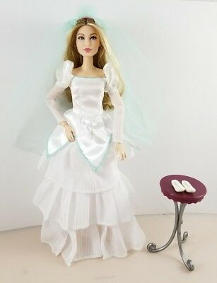 New Disney The Little Mermaid Ariel Doll Wedding Dress And Veil Teal Fits Barbie