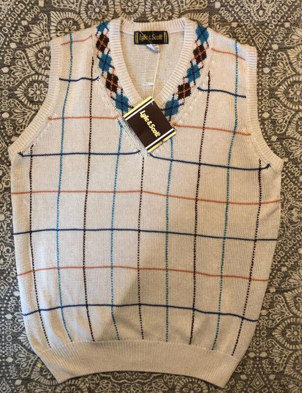 NWT Vintage Lyle & Scott 100% Silk Sweater Vest Size Large Argyle FATHERS DAY!!!