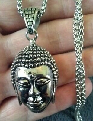 """20""""MEN Stainless Steel 3mm Silver Box Link Chain Necklace BUDDHA HEAD Pendant"""