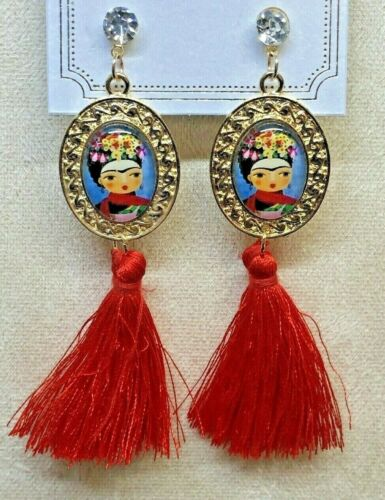 Frida Kahlo With Tassel Red Fashion Earrings