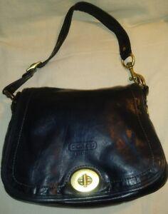Coach Black Legacy Striped Leather Ali Flap Shoulder Bag 11134 Turnlock