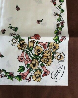 Vintage Gucci Scarf Silk Monogram Floral Lovely