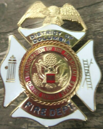 VINTAGE D.C. OBSOLETE 30 YEAR OLD 1989 INAUGURATION FIRE DEPARTMENT BADGE