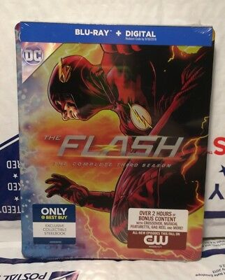 New Flash Season 3 Blu Ray Digital Hd Steelbook  4 Disc Set  Best Buy  Sealed