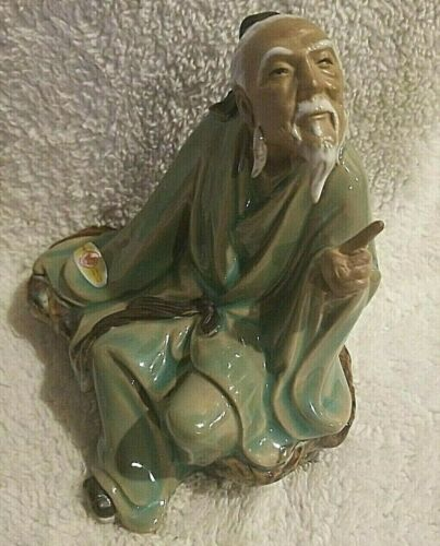 "Chinese Figure Old Wise Mudman Teaching Ceramic Art Pottery 5.5""h"