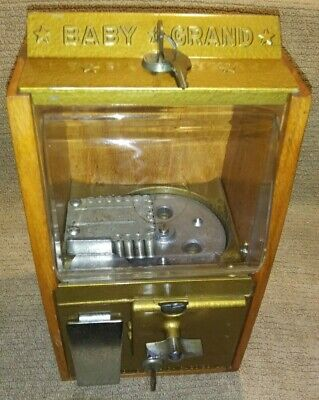 NICE VICTOR 10 CENT BABY GRAND GUMBALL MACHINE BLACK JACK GAMBLING OAK CABINET