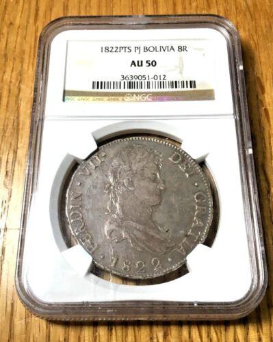 1822 Bolivia 8 reales silver Ferdinand Potosi Crown Peso Pieces of Eight pcgs